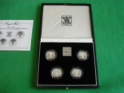1984 1985 1986 1987 £1 One Pound Silver Proof Piedfort Coins Set Coa Freepost