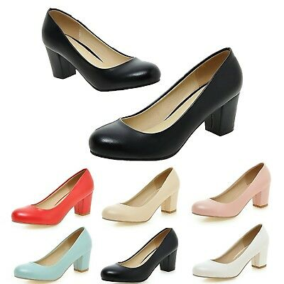 Ladies Pumps shoes Round toe  Block heel High heels Nurse Court Size 3-10 kala