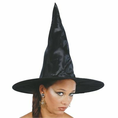 Black Satin Adult Witch Wizard Hat Halloween Fancy Dress Costume Accessory