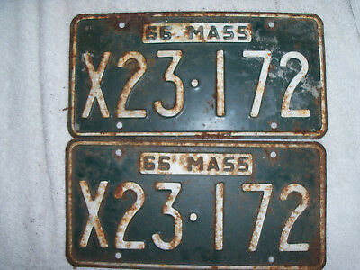 1966 Mass License Plates Matched Set 2 Vintage Green Rusty Massachusetts Metal Plates White Embossed Industrial Collectible Car Memorabilia
