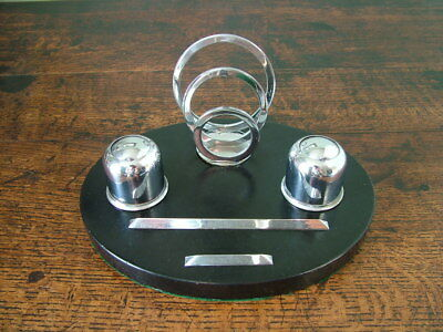 1930's ART DECO DESK TOP CHROME & MARBLE COMBINED PEN INKWELL 3 LOOP LETTER RACK