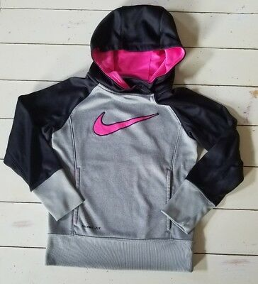 Nike Girl's Dri-FIT Hoodie Size Youth Smalk Pink/Gray/Black