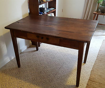 Vintage French Oak Provincial Cafe/Kitchen Table with Draw - Farmhouse Chic