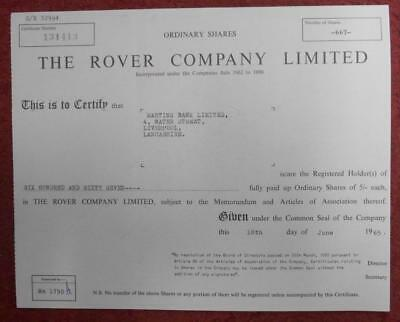 30981 GB 1965 Rover Ordinary shares certificate