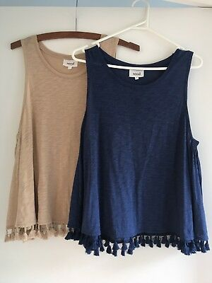 Seed Women's Beige Blue Singlet Tops Size M Excellent Condition