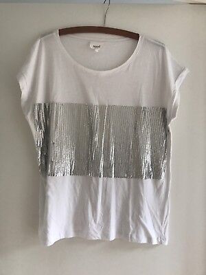 Seed Women's White Sequin T-Shirt Top Size L Excellent Condition