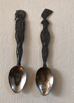 Two Rare Antique Egyptian Sterling Silver Spoons Pharaoh And Nefertiti Marked