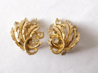 Vintage 1950's Gold Tone Clear Glass Crystal Leaf Clip On Earrings