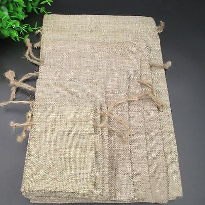 Wedding Natural Hessian Burlap Jute Favour Gift Bags Drawstring Sack Pouch