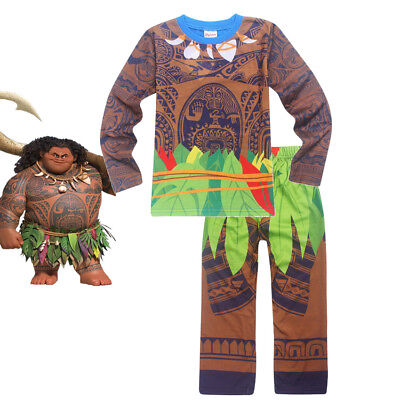 Boys Moana Maui Pajamas Costume 2 Pieces Sets Halloween Cosplay T-shirt Outfits