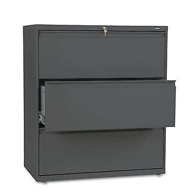 HON 800 Series Three-Drawer Lateral File 36w x 19-1/4d x 40-7/8h Charcoal 883LS