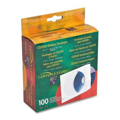 "Compucessory CD/DVD Window Envelopes 5""x5"" 100/BX White 26500"