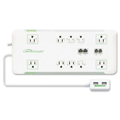 Compucessory Slim Surge Protector 10-Outlet 3420J 6' Cord 1800W WE 25134