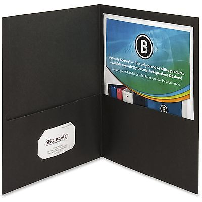 "Business Source 2-Pocket Folders 125 Sht Cap Letter 12""x9"" 25/BX BLK 78490"