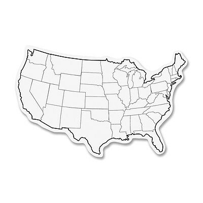 "Chenille Kraft Whiteboard USA Map 12""x8"" 2-Sided 10/PK White 987910"