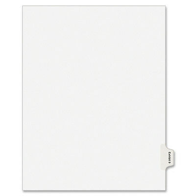 Avery Index Divider, Exhibit 9, Side Tab, 25/PK, White 82141