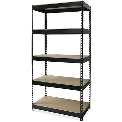 "Lorell Riveted Steel Shelving, 36""x18""x72"", Black 61621"