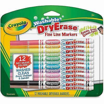 Crayola Washable Dry-Erase Fine Line Markers 12/BX Ast 985912