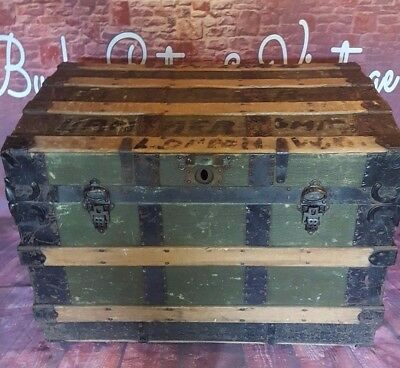 Antique Vintage Ship Travel Trunk Blanket Toy Storage Box Coffee Table Steamer