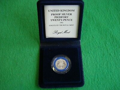 1982 Silver Proof Piedfort Twenty 20 Pence Cased Coa Freepost