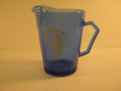Shirley Temple small blue glass Pitcher