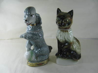 Pair of Jim Beam Whiskey Decanters One Poodle and One Cat Made by Regal China