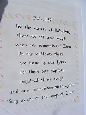Vintage Calligraphy Sample Psalm 137 Christian Religious Poster By Hand Art