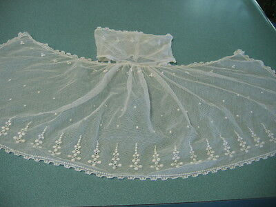 Antique Embroidered Net Lace Jabot Late 1800's to Early 1900's