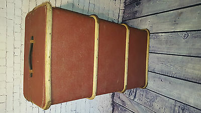 Vintage Antique Steamer Cabin Trunk Chest Coffee Table Blanket Box Storage Chest