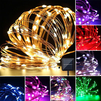 10M/100LED Solar powered Copper Wire String Fairy Waterproof Light lamp Flexible