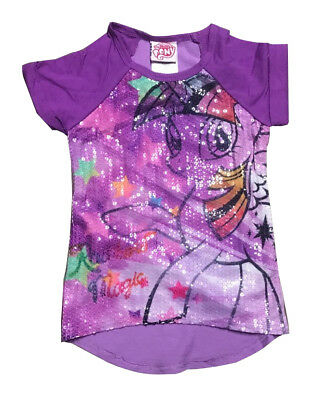 New Summer Kids Girl T-Shirt My Little Pony Purple Shiny Bit Size 4-14