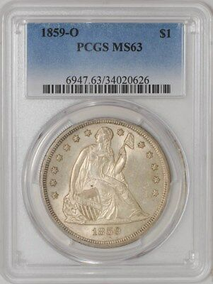 1859-O Seated Liberty Dollar $ MS63 PCGS