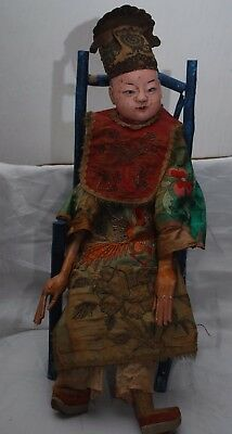 "Amazing Antique Painted Wood & Cloth 24"" Chinese Doll Silk Embroidered Robes A/F"