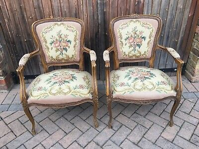 French Tapestry Armchairs Matching Pair