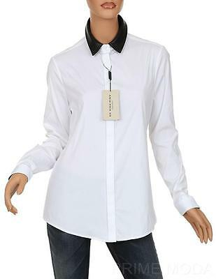 d8cf522f0c3b7d Burberry London Luxury White Stretch Cotton Leather Collar Blouse Shirt  44 10