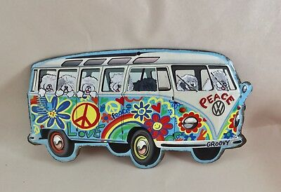 Tin sign Hippie Bus filled with hand painted old English sheepdogs