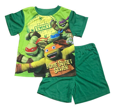 New Summer Kids Boy Pyjamas Top & Shorts Set TMNT Ninja Turtle Size 4-10