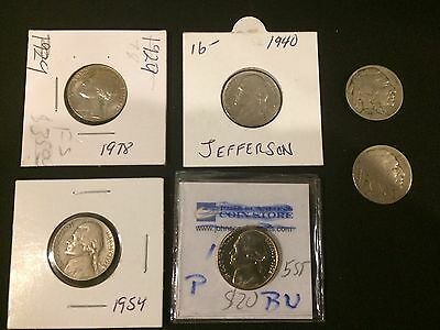Lot of 6 Nickels -4 Jefferson , 2 Buffalo