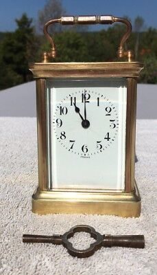 1900's Antique French Carriage Mantel Shelf Desk Clock Working Beautifully