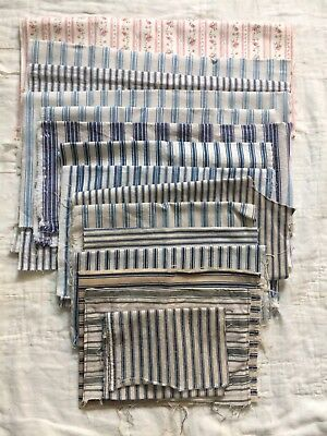 LOT of 14 Vintage Antique Ticking Stripe Primitive Textiles AAFA