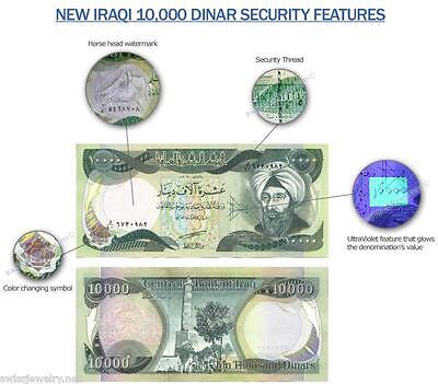 AUTHENTIC 10.000 IRAQI DINAR UN CIRCULATED-REGISTERED W/U.S. TREASURY Free S&H