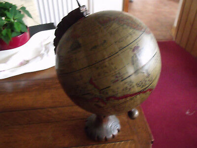 ANTIQUE 1960s WORLD GLOBE ON OAK FRAME  COPY OF 1634
