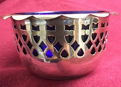EPNS Sugar Bowl With Blue Glass Liner