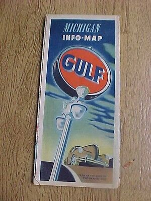 1940 Gulf  Gas And Oil Road Map Of Michican
