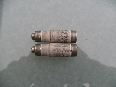 2 x Siemens neozed bottle fuses, 16A, D01, gL, 380/250v.