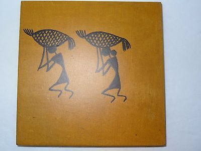 6 Wooden Coasters w/ African Tribal Images  People Dancing Working Playing Music