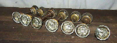 Lot Of 13 (6 Full Sets) Antique Deco Brass Crystal Glass Brass Door Knobs