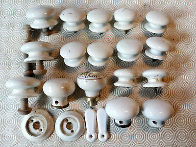 Vintage Antique Period China Drawer Door Knob Collection 17 Pcs, See Photos