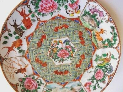 Chinese Porcelain 19th Century Famille Rose Plate Ducks Bats Fish Flowers