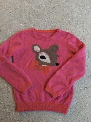 Girls Pink 100% Cashmere Jumper/ Top By M&S Age 4-5 Years